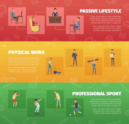 Banners voor fysieke activiteit vector