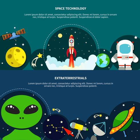 Space Technology Banners Set vector
