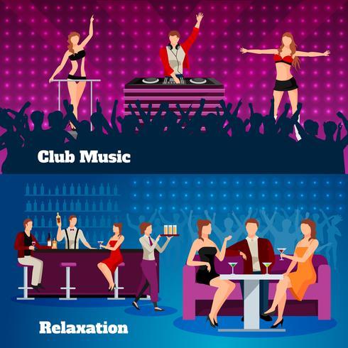 Dance Club 2 vlakke bannerset vector