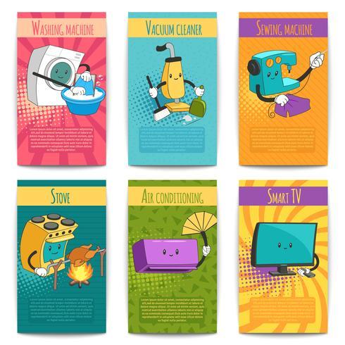 Zes gekleurde komische posters met huishoudelijke apparaten vector