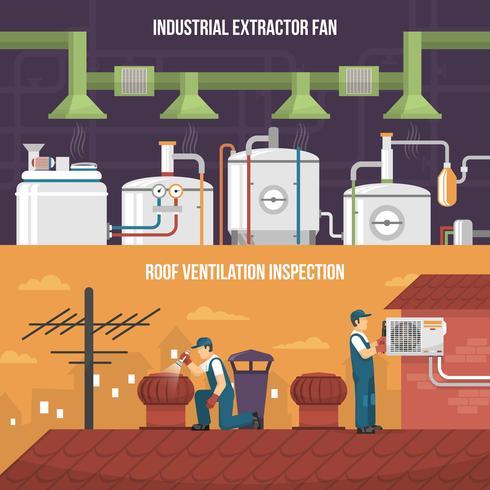 Ventilatie Conditioning Verwarming Horizontale banners vector