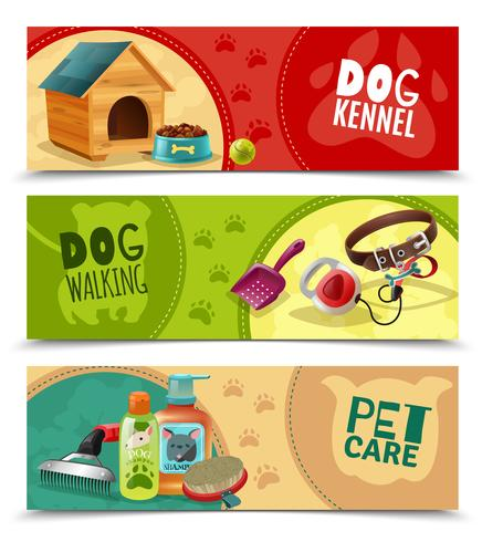 Pet Care 3 horizontale banners instellen vector