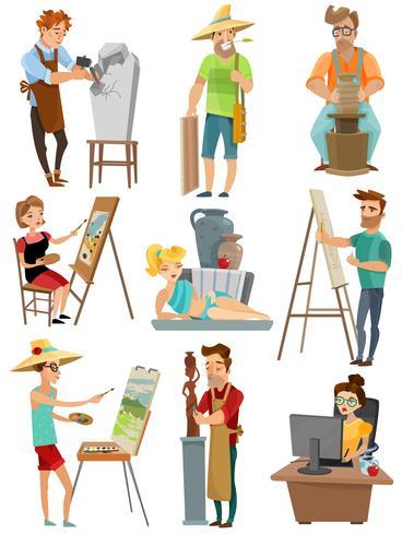 Kunstenaar Cartoon Set vector