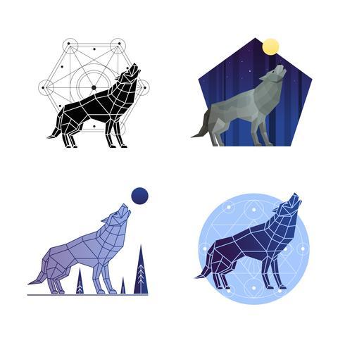 Huilende Wolf Set vector