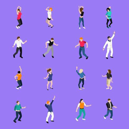 Dansende mensen bewegingen Isometrische pictogrammen collectie vector