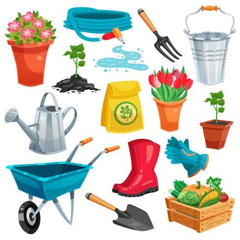 Tuin met sprout en inventaris vector