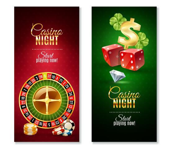Casino Night 2 verticale Banners Set vector