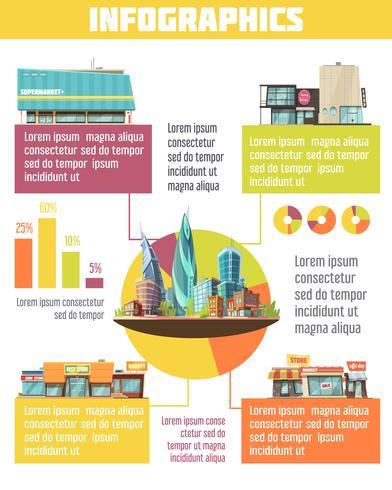 Winkel gebouwen Infographic Set vector
