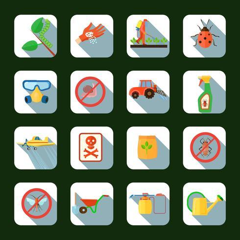 Pesticiden Vierkante pictogrammen instellen vector
