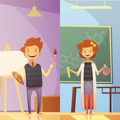 Kinderen onderwijs 2 verticale Cartoon Banners vector