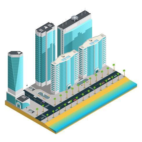 Isometrische moderne stadssamenstelling vector
