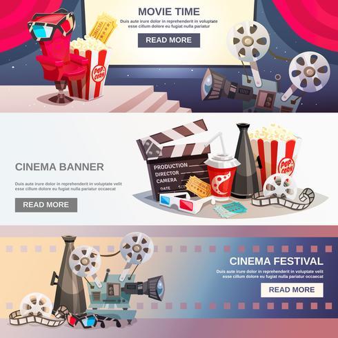 Cinematografie platte horizontale banners vector