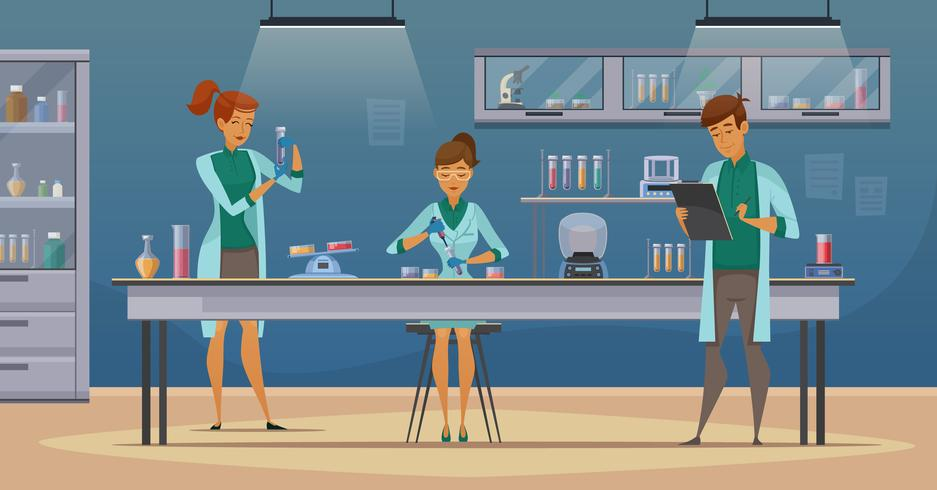 Wetenschappers in Lab Retro Cartoon Poster vector