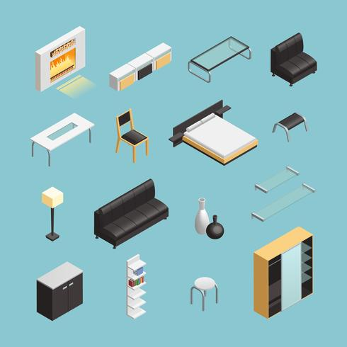 Interieur van het huis objecten Isometrische Icons Set vector