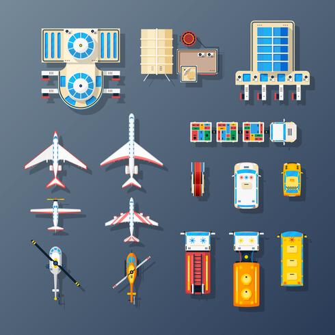 Luchthavenvervoer en voorzieningenelementenverzameling vector