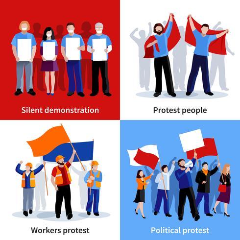 Demonstratie Protest Mensen 2x2 Icons Set vector