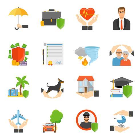 Verzekeringsmaatschappijen symbolen vlakke pictogrammen instellen vector