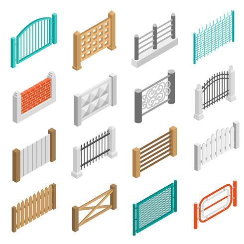 Hekken Types Elementen Pictogrammen Isometrische Collectie vector