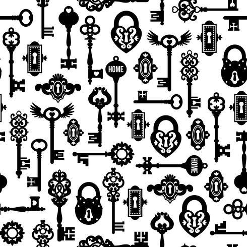 Sleutels en sluit naadloos patroon vector