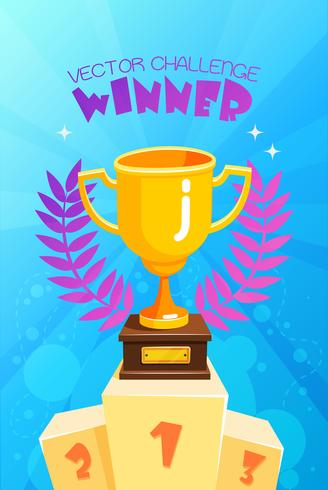 Winnaar trofee op podium kleurrijke Poster vector