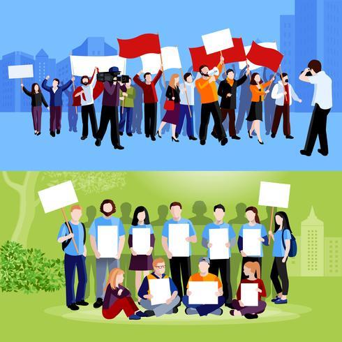 Demonstratie Protest Mensen Composities vector