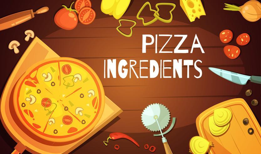 Pizza ingrediënten achtergrond vector