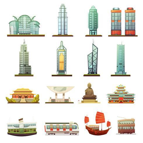 Hong Kong Landmarks Transport Icons Set vector