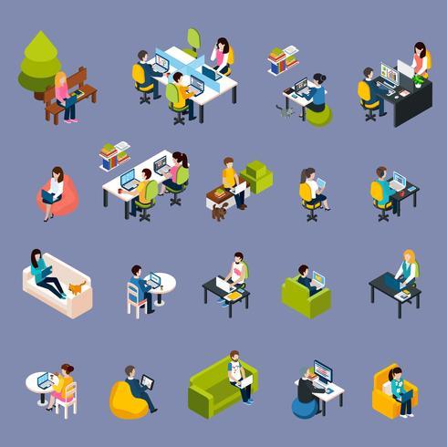 Coworking mensen Icons Set vector