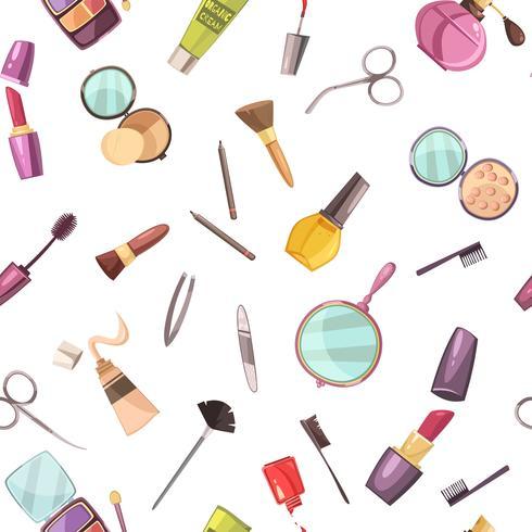 Cosmetische make-up accessoires platte naadloze patroon vector