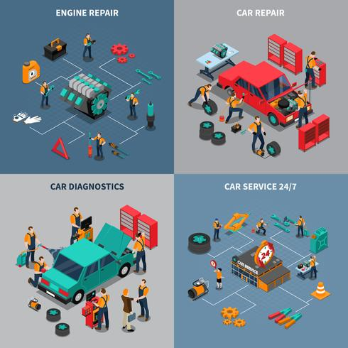 Car Service 4 Isometric Icons Square vector