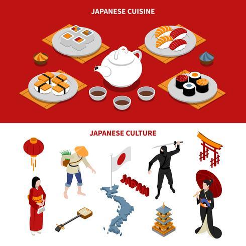 Japan toeristische isometrische Banners vector