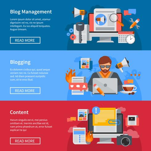 Bloggen platte banners vector