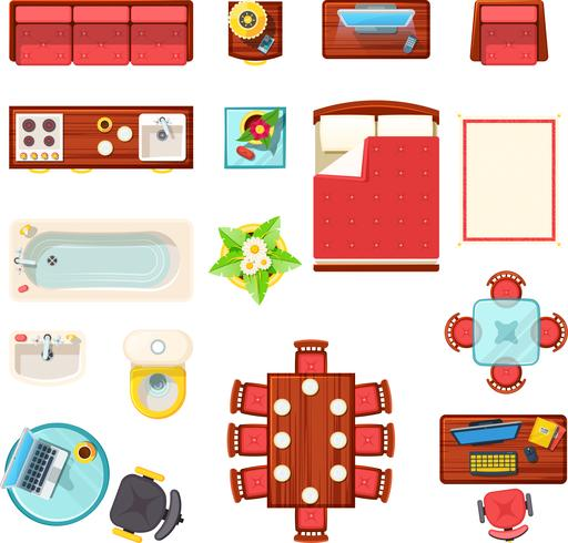 Home Furniture Top View Set vector