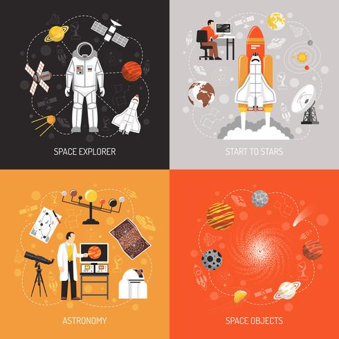 Astronomie 2x2 ontwerpconcept vector