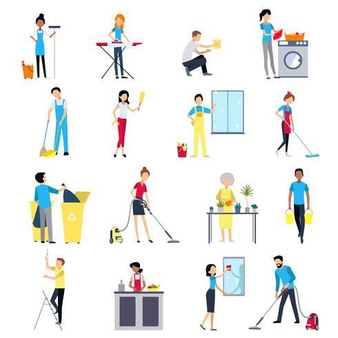 Schoonmaak mensen Icons Set vector