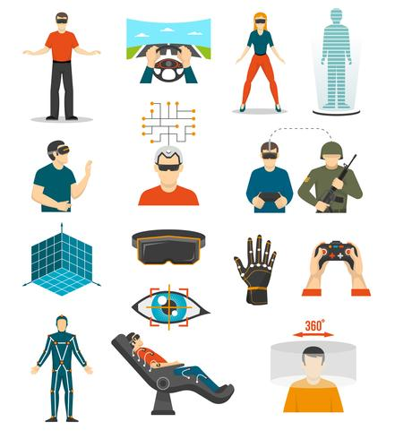 Virtual Reality-videogames ingesteld vector