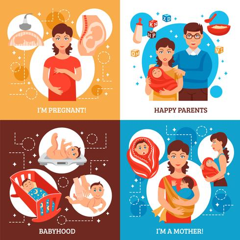 Ouders Concept Icons Set vector