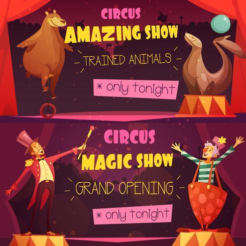 Circus 2 Retro Cartoon Banners Set vector