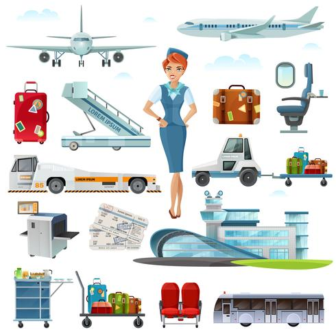 Luchthaven vlucht accessoires platte pictogrammen instellen vector