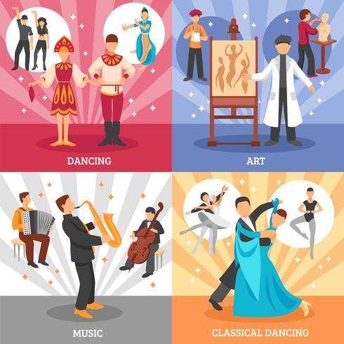 Kunstenaar mensen Concept Icons Set vector