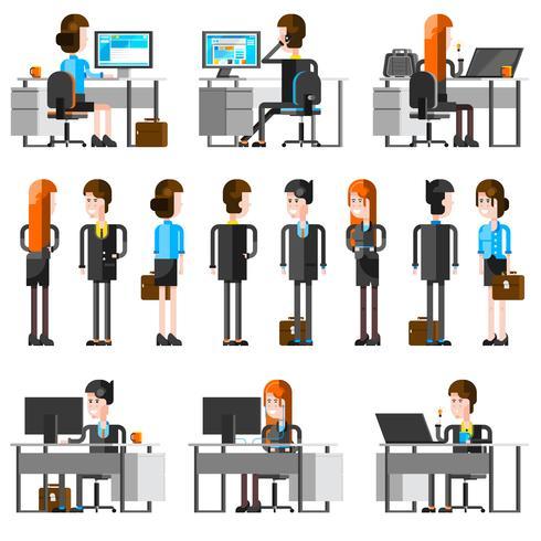 Office mensen Cartoon pictogrammen instellen vector