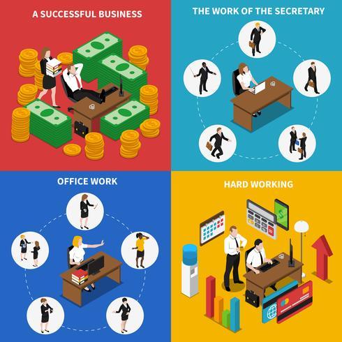 Business Office 4 Isometrische pictogrammen Square vector