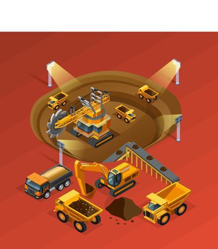 Mijnbouw isometrisch concept vector