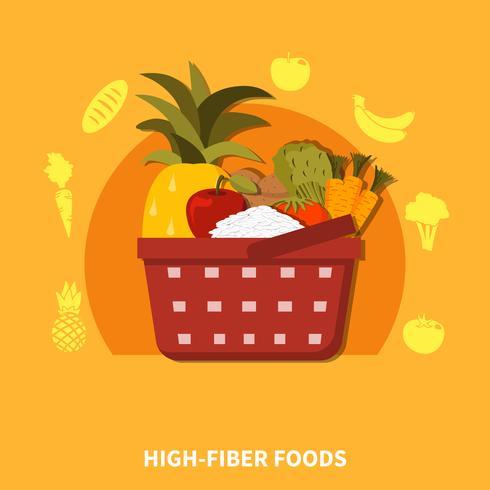 High Fibre Foods Supermarkt Samenstelling vector