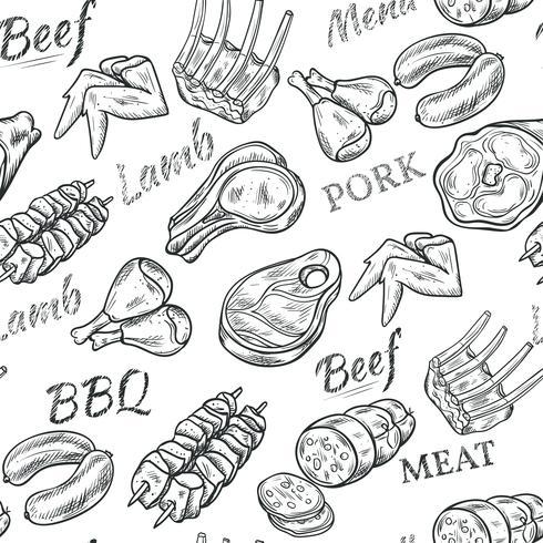 Vlees schets naadloze patroon vector