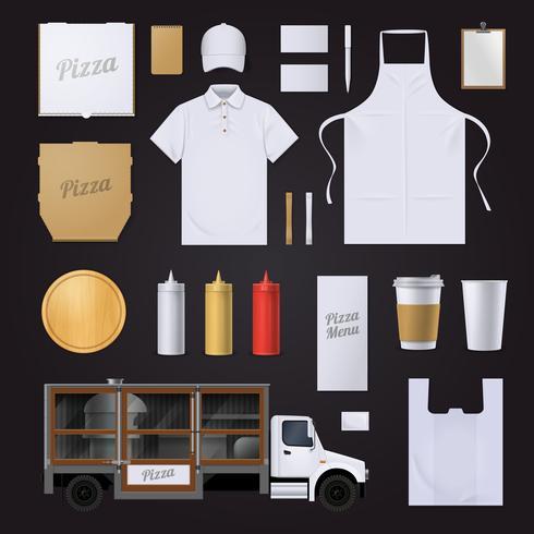 Pizza huisstijl ontwerpset vector