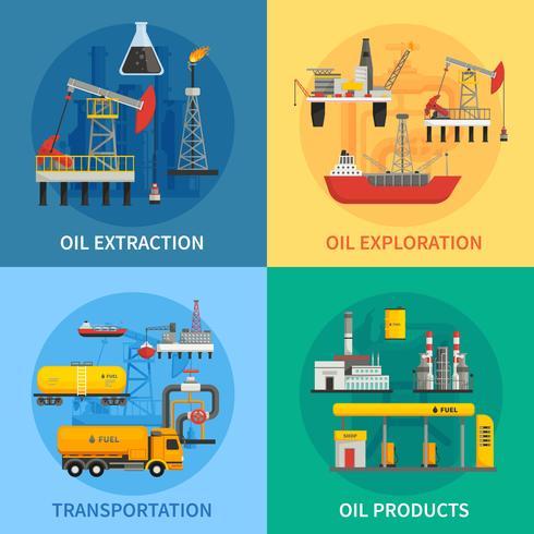 Oil Petrol Industry 2x2-afbeeldingen vector
