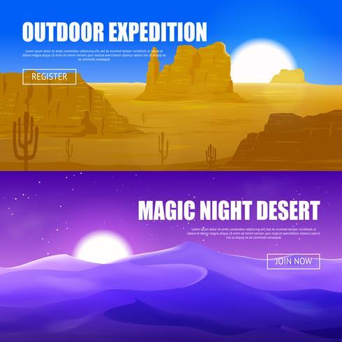Horizontale banners van de woestijn vector