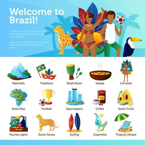 Brazilië voor reizigers Infographic platte Poster vector