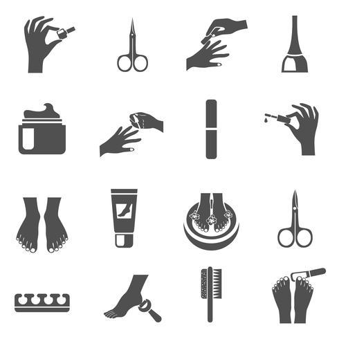 Manicure en pedicure zwarte pictogrammen instellen vector